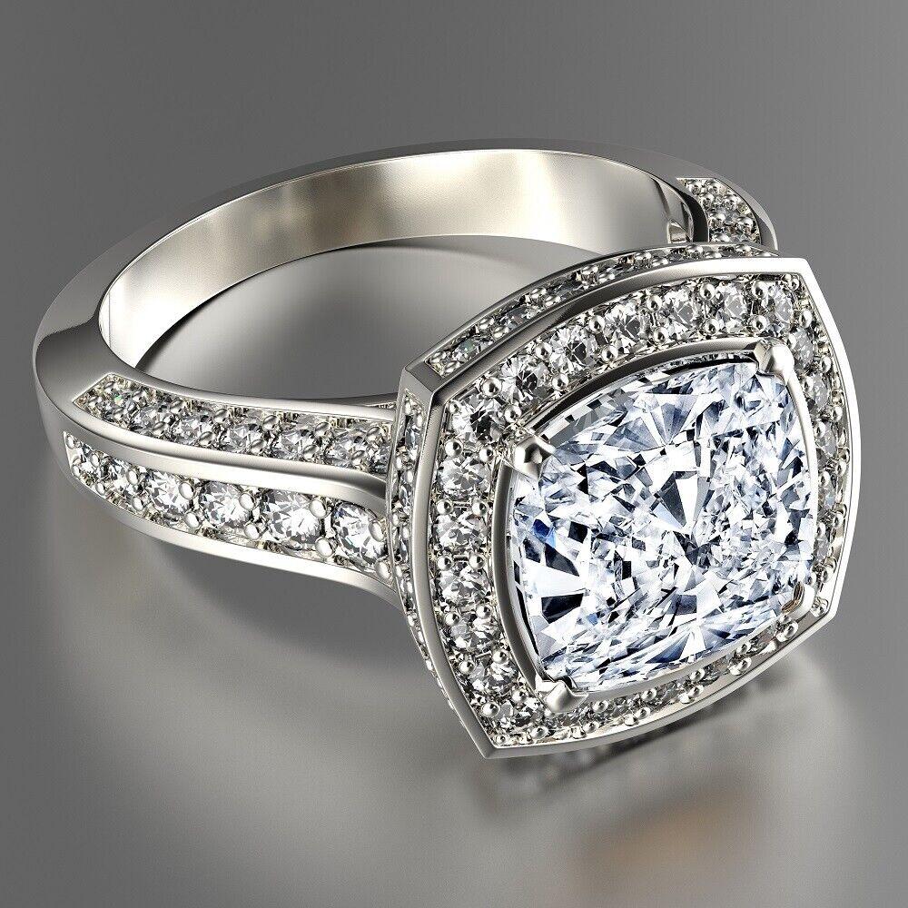 2.47 carat total Cushion GIA Certified Diamond Engagement Ring 18k White Gold