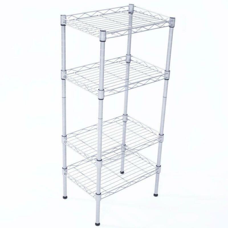 Adjustable 4 Tier Metal Storage Rack Shelves Kitchen Storage Home Standing