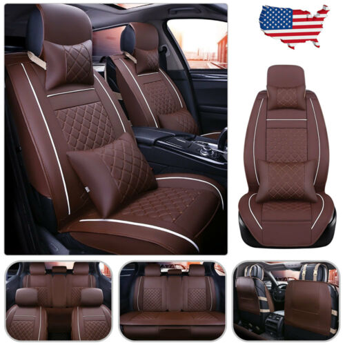 PU Leather 5-Seats Front /& Rear Cushion W//pillows Car 5 Seats Full Cover L-Brown