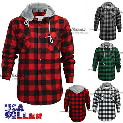 - Mens Brawny Buffalo Plaid Flannel Shirt Long Sleeves Button Front Check Hoody