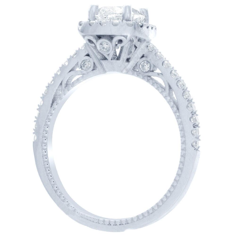 GIA Certified Cushion Cut Diamond Engagement Ring 1.77 carat 18k White Gold 2