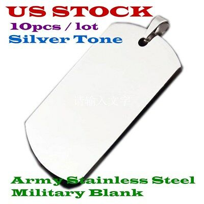Usa 10pcs Wholesale High Quality Army Stainless Steel Military Blank Dog Tags