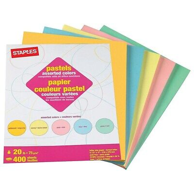 Staples Pastel Colored Copy Paper 8 12 X 11 Assorted Colors 400pk 679481