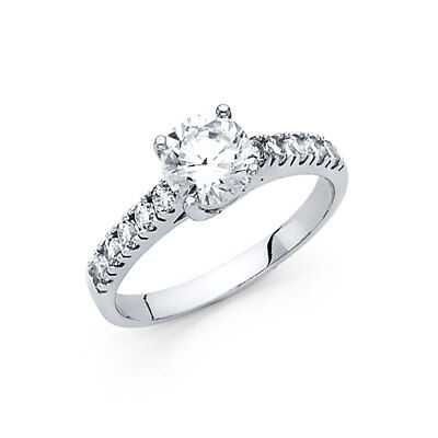 Real 14k White Gold Prong Set Solitaire CZ Engagement Comfort Fit Ring Band Her Comfort Fit Solitaire Setting