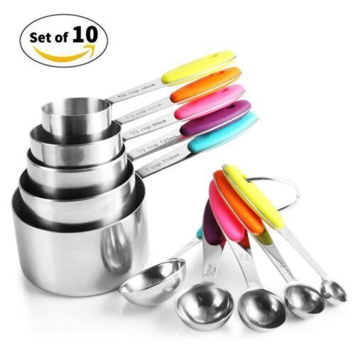10 stk Edelstahl Messlöffel Set Messbecher Cups Bunt mit Silikon Griff für Küche