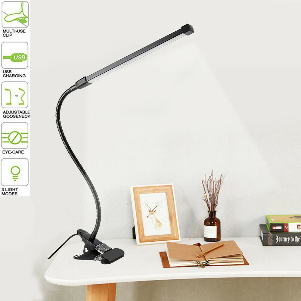 Flessibile Led Luce Morsetto Dimmerabile Toccare Lampada Da Scrivania Usb 8w Ebay