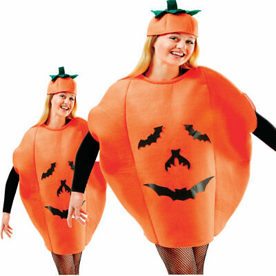Ladies Mens Novelty Pumpkin Halloween Party Fancy Dress Costume Outfit New Adult