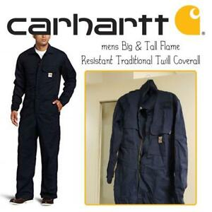 NEW Carhartt mens Big  Tall Flame Resistant Traditional Twill Coverall Condtion: New, Dark Navy, 44
