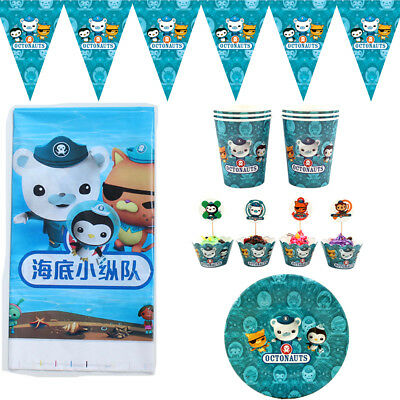 50pcs Octonauts Theme for 12 Kids Child Party Decoration Plate Cups Cloth - 50 Themed Party Clothes