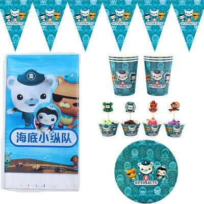 50pcs Octonauts Theme for 12 Kids Child Party Decoration Plate Cups Cloth Set - 50 Themed Party Clothes
