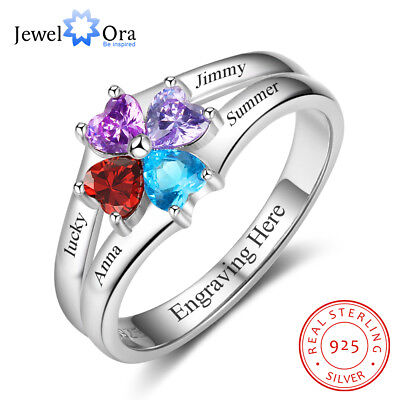 Sterling Silver Personalized Women Ring Birthstone Name Family Gift Mother's Day Family Name Ring