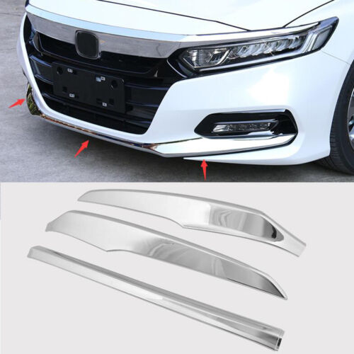 White ABS Front Bumper Lip Cover Trim For 2018 Honda Accord 3pcs