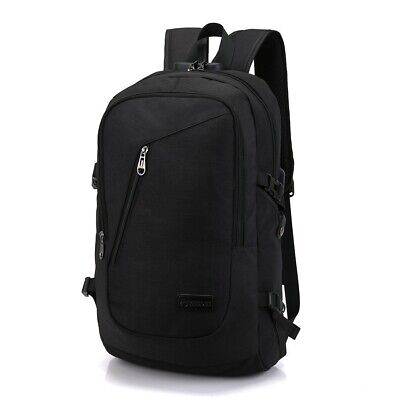 Black Anti-theft Mens USB w/ Charger Port Backpack Laptop Travel School Bag -