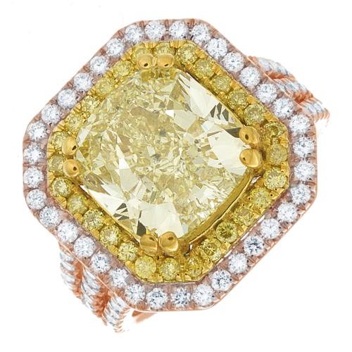 Diamond Engagement Ring GIA Certified 5.25 CT Fancy Yellow Cushion Cut Platinum 7