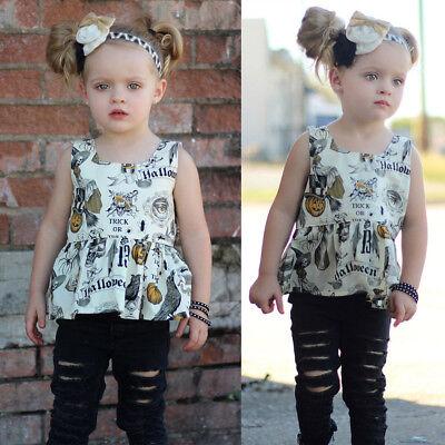 Newborn Toddler Girl Pumpkin T-shirt Tops Shorts Pant Halloween Outfits Set Cool](Halloween Pumpkin Toddler Shirt)