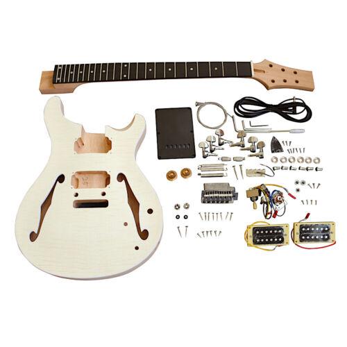 Coban Guitars Electric Semi Hollow Guitar DIY Kit PRSH Flamed Maple Chrome Hardw