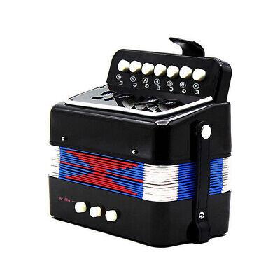 7 Key 2 Bass Mini Small Accordion Musical Rhythm Band Kids Toy Black C7Y6