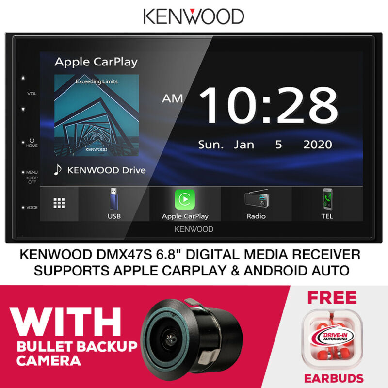 "Kenwood DMX47S 6.8"" Digital Multimedia CarPlay Receiver & Bullet Backup Cam"