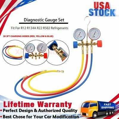 Refrigeration Manifold Hvac Gauge System With 3x Test Pipe Charging Hoses Tube