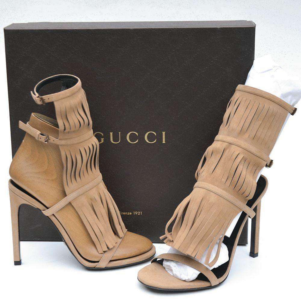GUCCI New sz 36.5 - 6.5  Womens Designer Fringe Gladiator Heels Shoes Sandals
