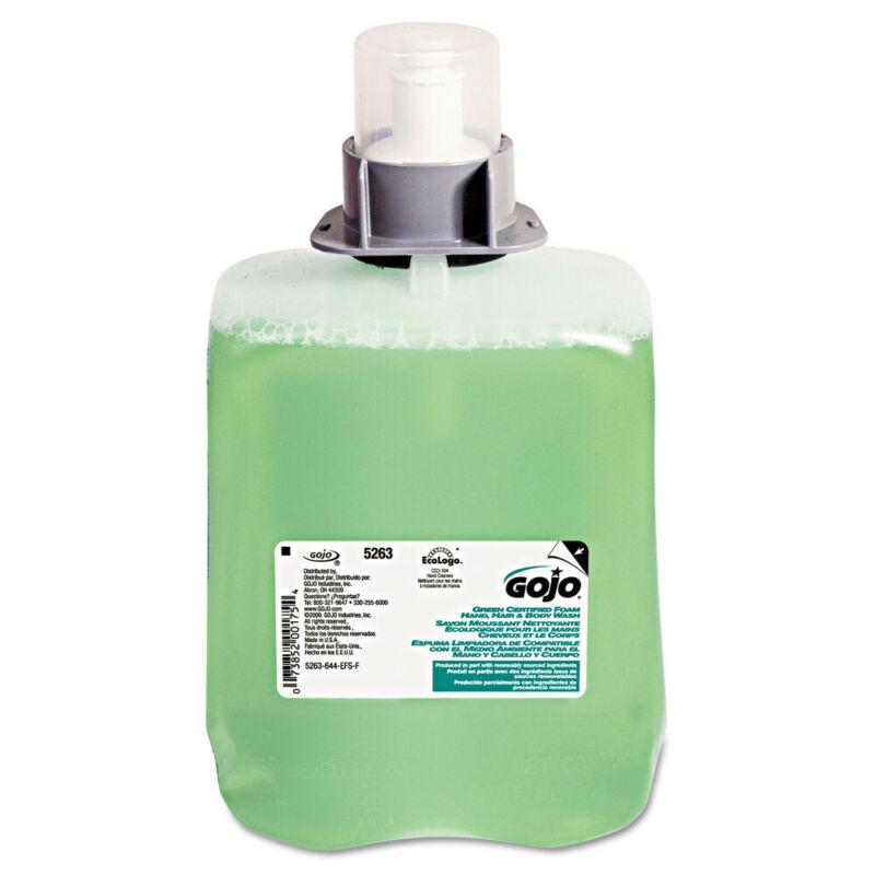 GOJO Green Certified Foam Hair & Body Wash, Cucumber Melon, 2000ml Refill, 2/car