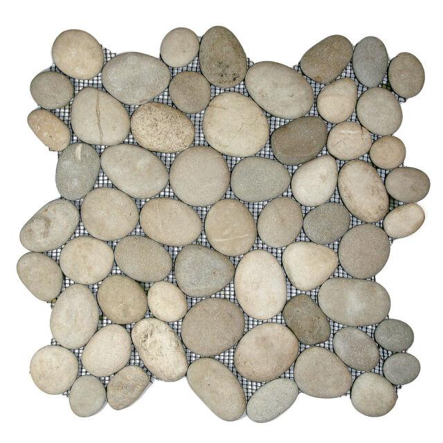 1 M2 Asian Tan Natural Pebble Mosaic Wall Floor Tiles For Bathroom Or Wet Room
