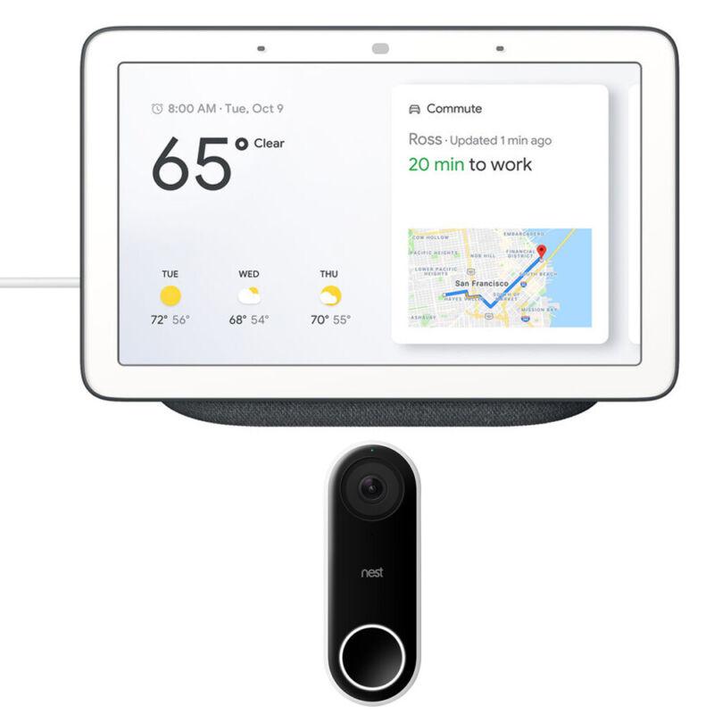 Google Nest Hub with Google Assistant (GA00515-US) + Google Nest Hello Doorbell