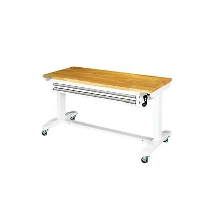 Husky Workbenches 52 In. Adjustable Height Work Table W2-drawers Steel White