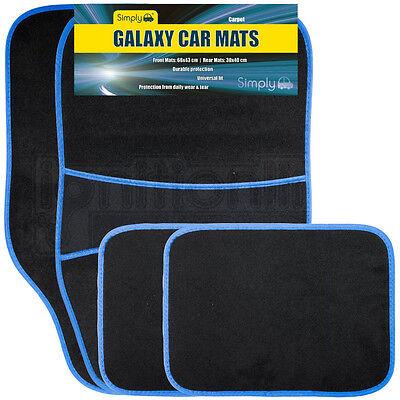 4 Piece Universal Fit Carpet Blue Trim Front  Rear Car Mats Non Slip Grip Floor