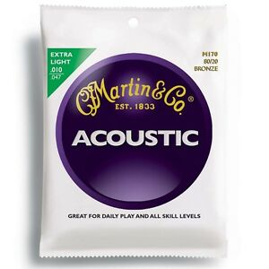 Martin 10 - 47 M170 3 PACK Sets Bronze Acoustic Guitar Strings Extra Light