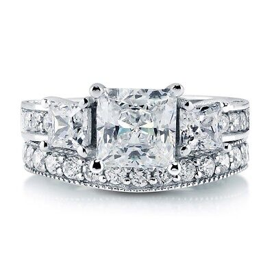 Sterling Silver 925 CZ Princess 3 Stone Engagement Ring Wedding Band Set Sz 5-10 3 Stone Princess Ring Setting