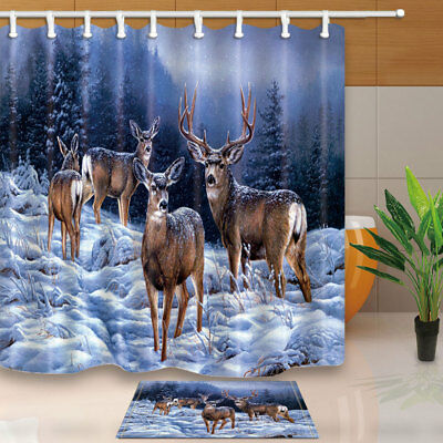 Winter snow and white tail deer Shower Curtain Bathroom Fabric & 12hooks 71*71in Whitetail Shower Curtain Hooks
