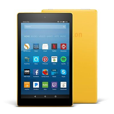 """Amazon Fire HD 8 Tablet E-Reader with Alexa, 8"""" HD Display, 16 GB – Yellow"""