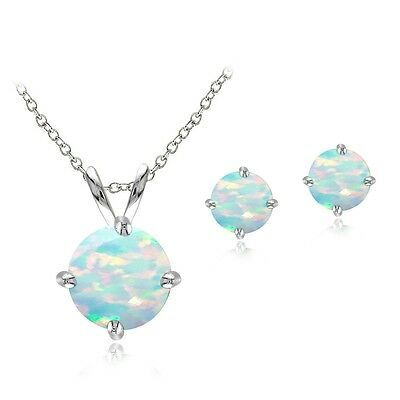 925 Silver 1.8ct Created Opal Solitaire Necklace & Stud Earring Set