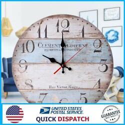 12'' Retro Round Wooden Wall Clock Home Office Decor Farmhouse Plank Clocks