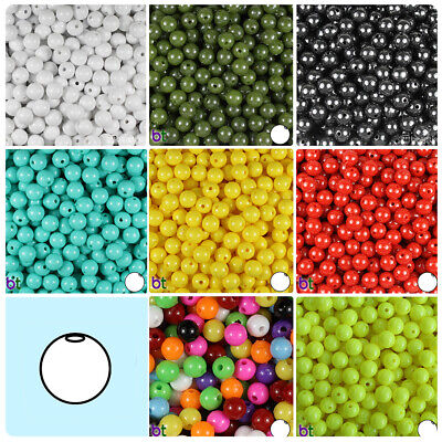 BeadTin Opaque 8mm Round Plastic Beads (300pcs) - Color (300 Beads)