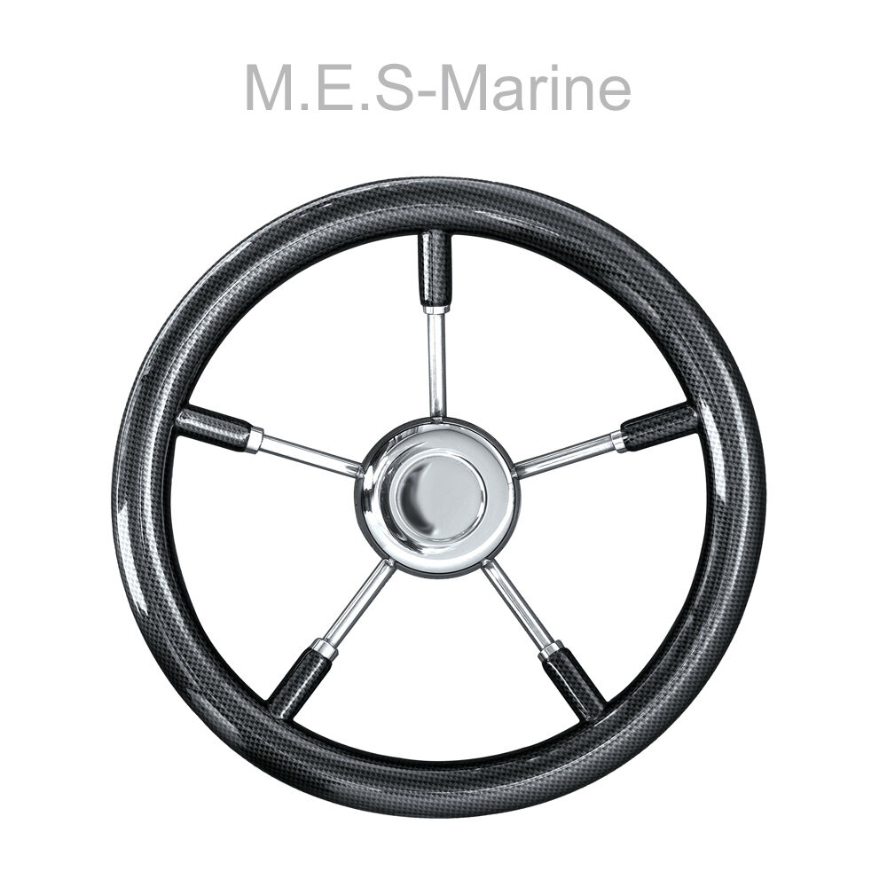HIGH QUALITY BOAT STEERING WHEEL MARINE STAINLESS STEEL SPOKE 350MM CARBON FIBRE