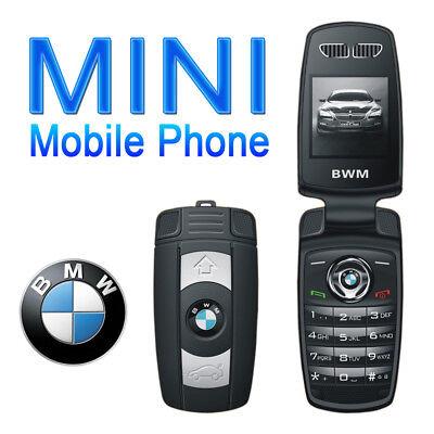 New Unlocked Bmw Mini Flip Compact Car Key Gsm Bluetooth Black Cell Phone