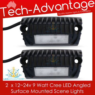 2 X 12V 9W BOAT/CARAVAN/AWNING/DECK ANGLED DOWN SURFACE MOUNT LED SCENE LIGHTS