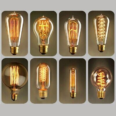 E27 40W Vintage Industrial Filament Light Bulb Lamps Bulbs Squirrel Cage Edison
