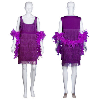 Charleston Flapper Fringe Fancy Dress Boa Sequin Tassel Party Outfit 20s - Fringe Flapper Kleid Kostüm