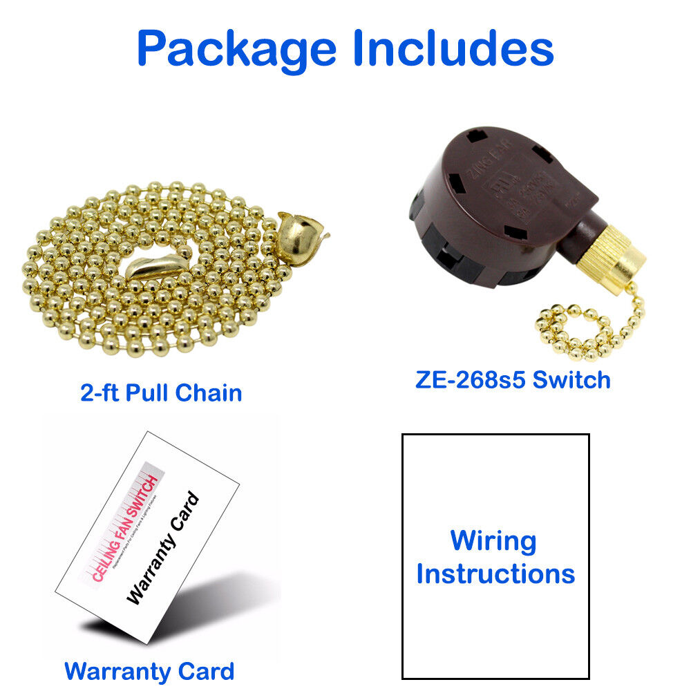 Zing Ear Ze 268s5 Pull Chain 4 Speed 5 Wire Ceiling Fan Rotary Wiring Switch For W 3 Ft