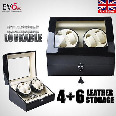 4 Automatic Rotation Black Wood Leather Watch Winder Storage Display Case Box UK