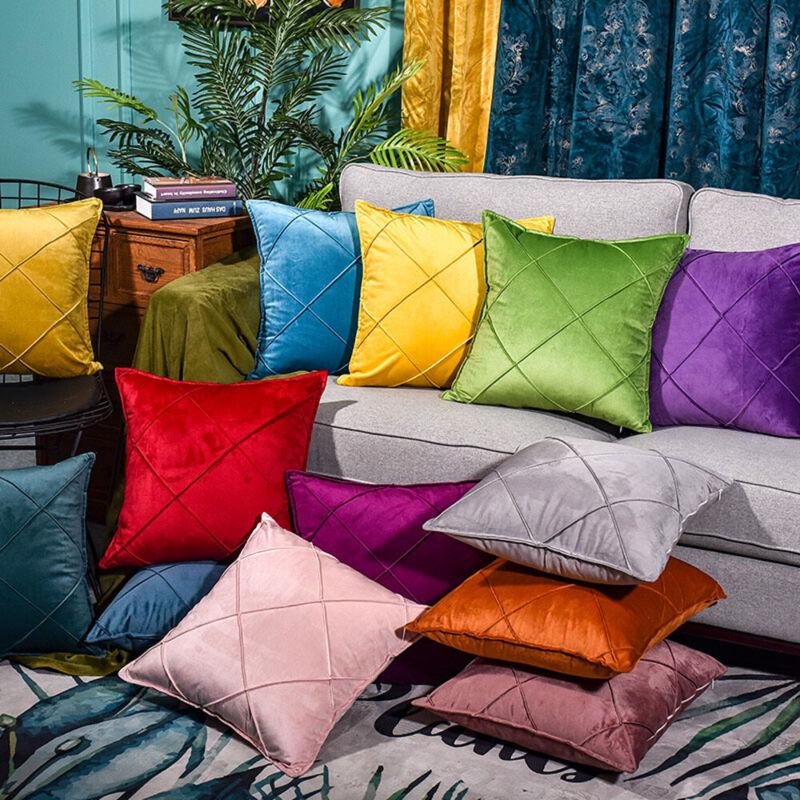 Velvet Cushion Cover Pillow Cover Luxury Art Embroidery Plaid Bedroom Decor Ebay