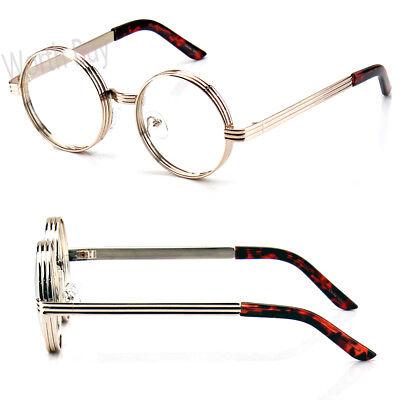 New Mens Women Fashion Steampunk Clear Lens Glasses Round Retro Metal Gold Frame