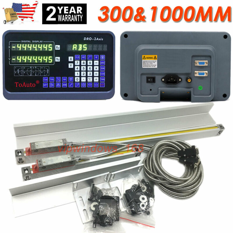 """12"""" 40"""" TTL Linear Scale 2Axis Digital Readout DRO Display Kit Milling Lathe US"""