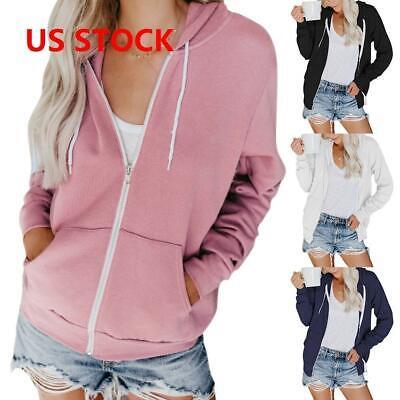 Womens Classic Active Thin Cotton Hoodie Hooded Zipper Zip-U