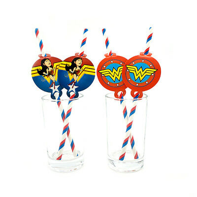 12pcs Wonder Woman Theme Birthday Party Decoration Biodegradable Paper Straws - Wonder Woman Party Decorations