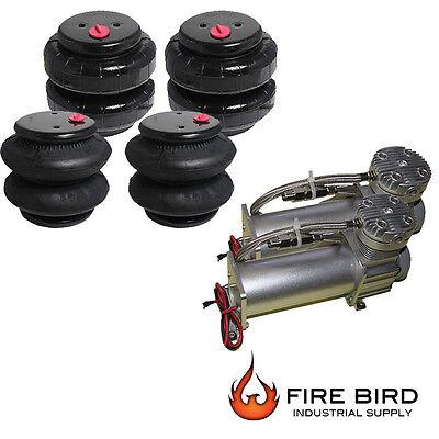 Air Ride Suspension Parts Dual Air Compressor Four Air Bags Starter Package xzx
