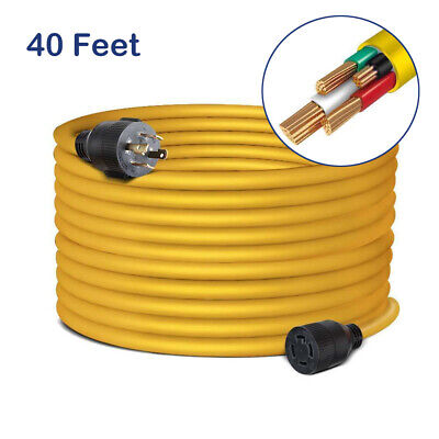 40 Feet Nema L14-30 Generator Power Cord Heavy Duty Electric Extension 4 Prong